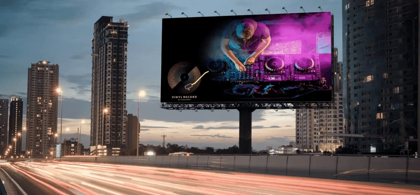 vinyl banners on a billboards
