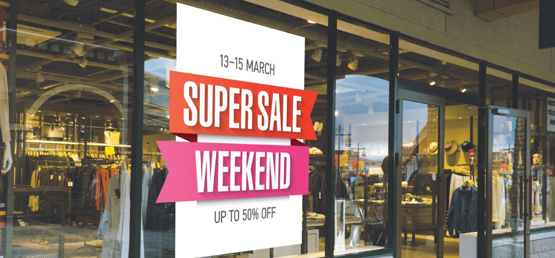 weekend super sale static window cling