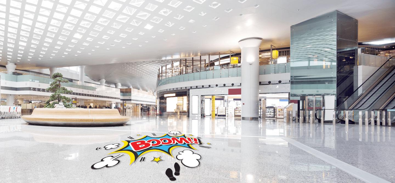 floor decal installed on a mall floor